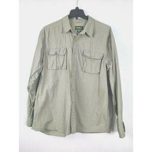 Eddie Bauer Shirt Army Button up Outdoor Casual XL